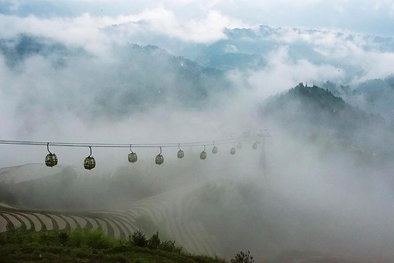Aerial Tram Above Dazhai Terraces