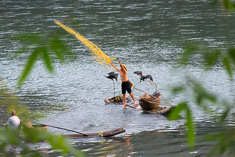 Casting Fish Net on Li River, Xingping